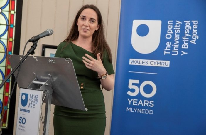 Charlotte Bailey, speaking at an OU50 event