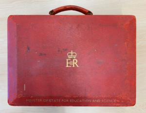 Red bag with royal seal on