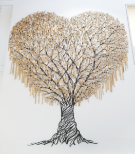 Heart shaped tree with gold pendents as leaves