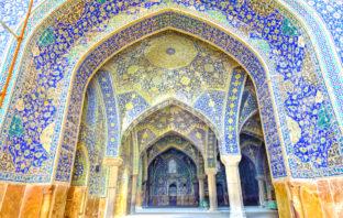 Interior of Imam Mosque at Naqhsh-e Jahan Square in Isfahan, Iran
