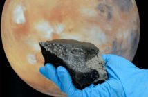 Image of meteorite and Mars