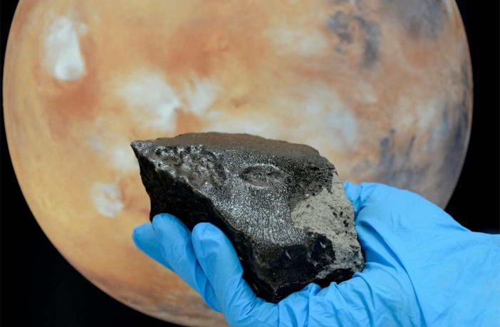 Image of meteorite and Mars