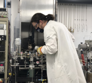 PhD student Ross Findlay in the lab