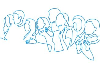 Group of people continuous one line vector drawing