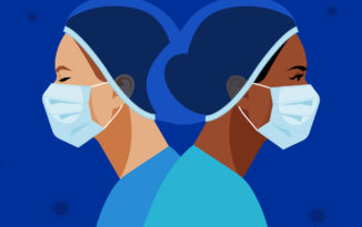 Vector illustration of two nurses wearing a medical mask and hat