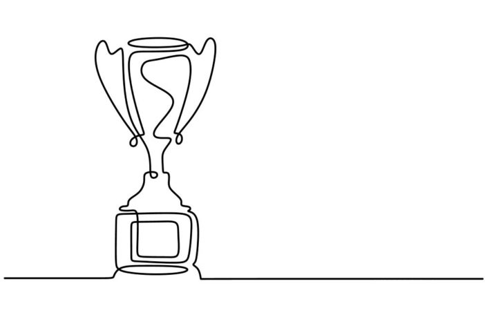One line drawing of winner trophy